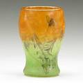 Daum early acidetched enameled and gilded verrerie parlante glass vase comme la plume au vent nancy france 1880s signed daum nancy 4 34 x 3 14