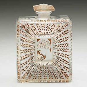Lalique houbigant la belle saison perfume bottle in frosted and clear glass with sepia patina france ca 1925 m p 941 no 3 molded made in france 4 x 2 34