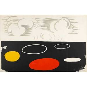 Alexander calder american 18981976 maree basse 1974 lithograph in colors framed signed and numbered 11100 28 12 x 43 34 sight provenance private collection new jersey
