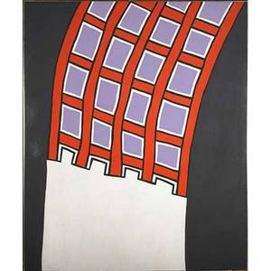 Nicholas krushenickamerican 19291999 sterling moss at the esses 1962 liquitex on canvas framed 63 14 x 52 provenance graham gallery new york label on verso harold reed gallery new