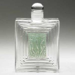 Lalique duncan flacon no 2 perfume bottle in clear and frosted glass with green patina france ca 1931 m p 347 no 624 stenciled r lalique france 7 12 x 4 34