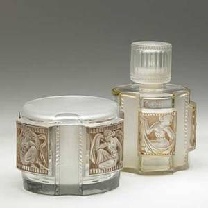 Lalique helene covered box and perfume bottle in clear and frosted glass with sepia patina france ca 1942 m p 348 nos 635 634 etched script signature lalique france box 3 14 x 3 12