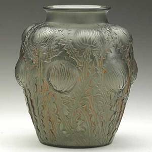 Lalique domremy vase in frosted smoky glass with red patina france ca 1926 m p 434 no 979 raised r lalique etched in script france 8 12 x 7