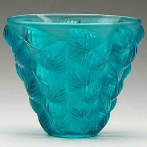 Lalique moissac vase in clear and frosted teal blue glass france ca 1927 m p 447 no 992 impressed r lalique france 5 x 6