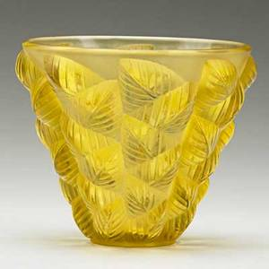 Lalique moissac vase in clear and frosted amber glass france ca 1927 m p 447 no 992 impressed r lalique france 5 x 6