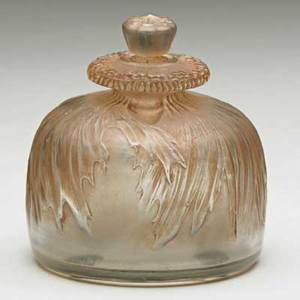 Lalique pavot perfume bottle in frosted glass with brown patina france ca 1910 m no 476 script signature r lalique france no 476 2 34 x 2 12