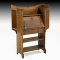 English arts  crafts dropfront desk with cutout panels and side shelves england ca 1910 unmarked 51 x 37 12 x 13 12