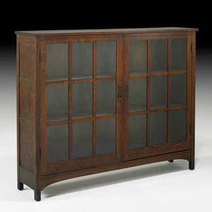 L  jg stickley doubledoor bookcase with two fixed shelves fayetteville ny ca 1912 the work of decal 48 x 60 x 13 12