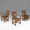 Limbert set of four dining chairs two side and two arm grand rapids mi ca 1910 branded marks armchairs 36 x 24 x 19 12