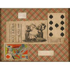 Charles green shaw american 18921974 four montages 504 collage late 18th c french playing cards and gaming counters framed signed 8 12 x 9 sight 724 collage early mid19th c a