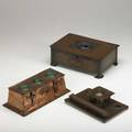 English arts  crafts three copper pieces with ruskin cabochons or enameling two boxes and one inkwell english ca 1900s unmarked largest 3 12 x 10 x 6 12