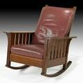 L  jg stickley oversized fixedback rocker with dropin spring seat fayetteville ny ca 1912 the work of decal 37 12 x 31 12 x 35