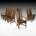 Arts  crafts set of eight tallback dining chairs four side and two arm ca 1910 unmarked armchairs 52 x 23 12 x 21 12