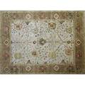 Oushak style roomsize rug in rose beige and green pastel floral pattern unsigned 9 4 x 11 10