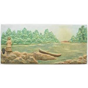 Hartford faience rare and large tile modeled with river scene of a lady accompanied by her dog hartford connecticut ca 1915 stamped hartford faience 8 x 17 34 x 1 12 exhibition perrault