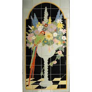 Claycraft fiftytile panel decorated in cuenca with parrot and flowers california ca 1925 no visible mark 38 34 x 19 12