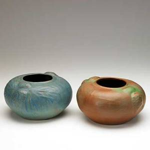 Van briggle two squat vessels with pine boughs mountain craig brown and blue glazes colorado springs ca 19151920 aavan brigglecolo spgs and aavan briggle20 each 6 x 9 34