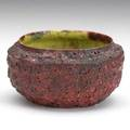 George ohr small vessel with deep red blister glaze green speckled interior biloxi mi 1890s stamped ge ohr biloxi miss 2 14 x 4
