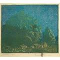 Gustave baumann american 18811971 color woodblock print framed october night santa fe nm pencil signed titled and numbered 38100 image 9 x 11