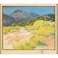 Gustave baumann american 18811971 color woodblock print arroyo chamisa santa fe nm in original gessoed frame pencil signed titled and numbered 20120 image 9 x 11