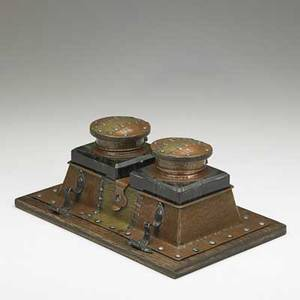 Joseph heinrichs large inkwell set new york ca 1910 hammered copper silver brass glass and wood stamped copper and silver 4 14 x 10 x 6 12
