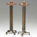 Roycroft pair of wrought and hammered copper strap candlesticks east aurora ny 1910s each stamped with orb and cross mark 11 34 x 4 14