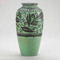William hentschel rookwood tall decorated mat vase with foliate pattern on green ground cincinnati 1921 flame markxxi614c and artists cipher 12 14 x 6