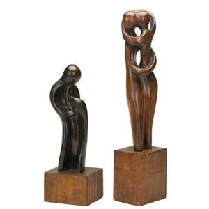 Peter lipmanwulf german 19051993two works of art untitled 1969 bronze signed p lipmanwulf6927 11 14 high 14 12 with base circle of life c 1955 carved wood signed p lipma