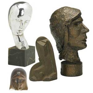 Bronze portraitsfour works of art roy van auken sheldon american 20th c the head of salome 1925 silvered bronze on marble base signed and dated with artists logo paris 1925 7 high 9 34