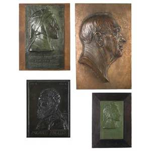 Bronze plaques of italian figuresfrederic ernest triebel american b 1865 two of dante alighieri 1921 both signed and dated larger is marked roman bronze works ny 6 34 x 4 and 20 x 12 b