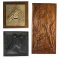 Plaques  medallions of animalslaura gardin fraser american 1889  1966 elk after landseer bronze signed and titled 5 12 x 4 14 charles rumsey american 1879  1922 horse head bronze