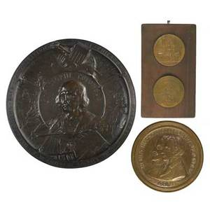 Bronze plaques  medallions of explorersemil fuchs austrianenglishamerican 1866  1929 henry hudson 1909 signed s klaber  company founders 10 12 diameter chester beach american 1881