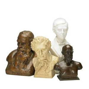 Busts of literary figuresfour works of art sidney henry morse american 18811907 untitled ralph waldo emerson ceramic signed sidney morse sculpt stamped published by j mcd  sboston