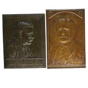 Plaques of teddy rooseveltsix works of art william odonovan american 1844  1920 teddy roosevelt bronze 7x4 34 james earle fraser american 1876  1953 teddy roosevelt 1920 patinated