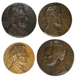Bronze plaques  medallions of abraham lincolnc ricelli 20th c 1920 bronze signed and dated 8 12 x 6 38 charles calverley american 1833  1914 bronze signed 9 12 adrian paul brode