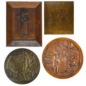 Plaques  medallions of pioneersfour works of art jl markham untitled pioneer household 1886 bronze signed jl markham henry bonnard foundry 19 14 x 17 58 artist unknown untitled