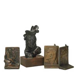 Native american groupartist unknown bronze bookend stamped copyright 5 12 high artist unknown untitled native american bust 1978 bronze signed dated and numbered sn 1978 16 found