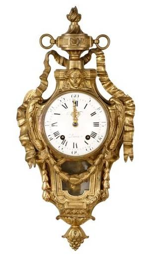 French Gilt Bronze Cartel Clock 19th Century