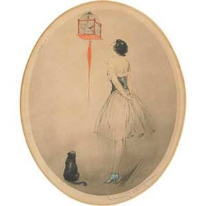 Louis icart french 18881950 drypoint etching of a woman and cat with birdcage framed signed windmill stamp copyright paris 1928 10 x 12 12 sight