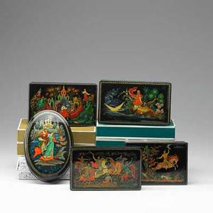 Palekh box group five russian lacquer boxes with enamel painting by various artists 19601980 most signed in cyrillic four with original boxes largest 1 34 x 6 58 x 4 34