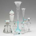 Sterling and enamel items ten 20th c three vases five perfumes and two small perfume vials tallest 13