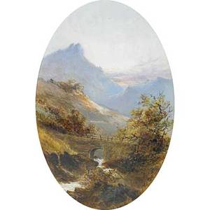 Julie c widgery british 19th c two oil on board landscapes old bridge near dartmoor by oxford 1872 and the valley of rocks  dartmoor 1872 both framed signed titled and dated bot