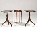 Kittinger three side tables late 20th c matching pair with rectangular tops and a stretcher base occasional table tallest 26 x 20 x 14