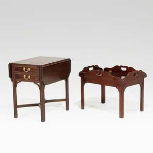 American furnishings henkel harris mahogany dropleaf end table together with a stickley butlers tray cocktail table late 20th c dropleaf table 26 x 18 12 x 25 closed