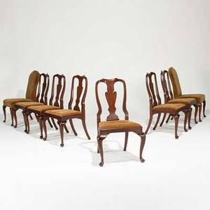 Henkel harris virginia galleries set of eight queen anne style dining chairs comprised of host and hostess chair and six side chairs with mahogany frames velvet upholstery and pad feet late 20th c