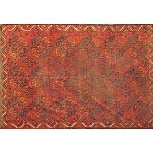 Bokhara oriental rug red ground with geometric motifs early 20th c 99 x 81
