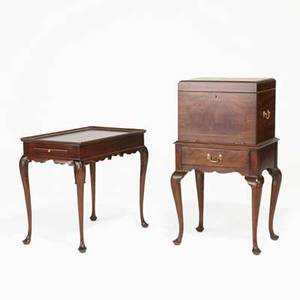 Henkel harris virginia galleries mahogany queen anne style silver chest and dishtop side table with pullout slides late 20th c chest 40 14 x 22 12 x 17 12