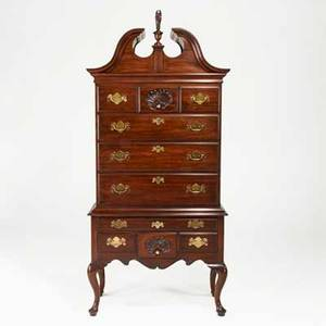 Henkel harris virginia galleries threepiece mahogany queen anne style highboy with bonnet top and shellcarved drawers late 20th c 89 12 x 41 12 x 21