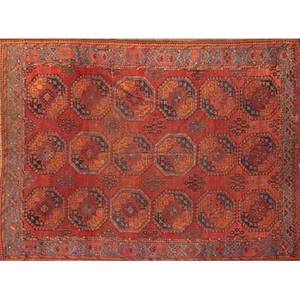 Bokhara oriental rug red with repeating geometric design early 20th c 89 x 108