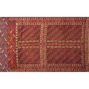 Teke bokkhara area rug red ground with geometric motifs early 20th c 52 x 72